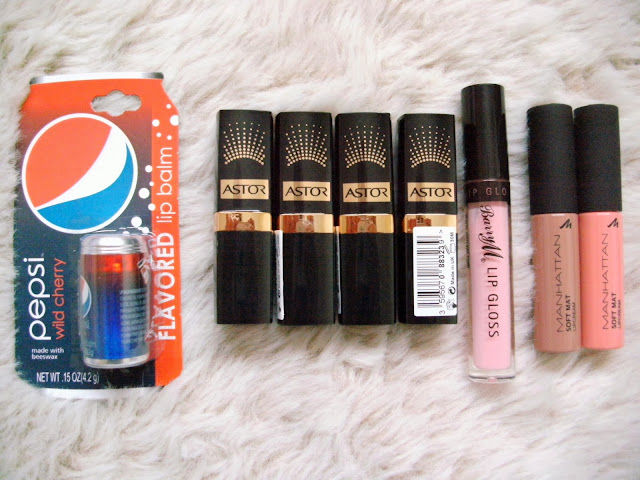 Lips (Pepsi Wild Cherry Flavored Lip Balm, 4 x Astor Lipsticks, 1 x Barry M Wand Lip Gloss and 2 x Manhattan Matte Lip Creams).
