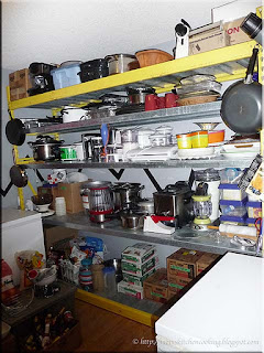 commercial shelving on east wall of the pantry