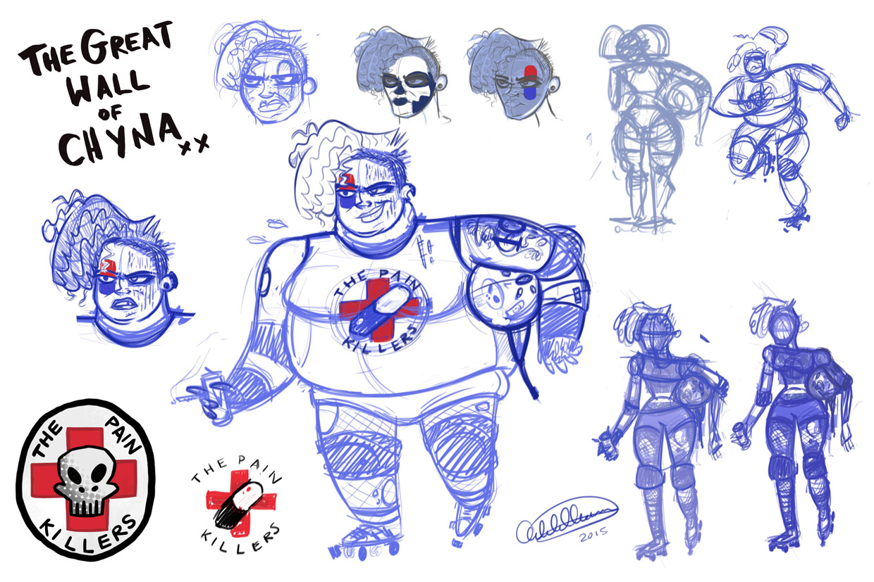Daily Character Design Challenge : Adele k thomas daily scribbles roller derby girl