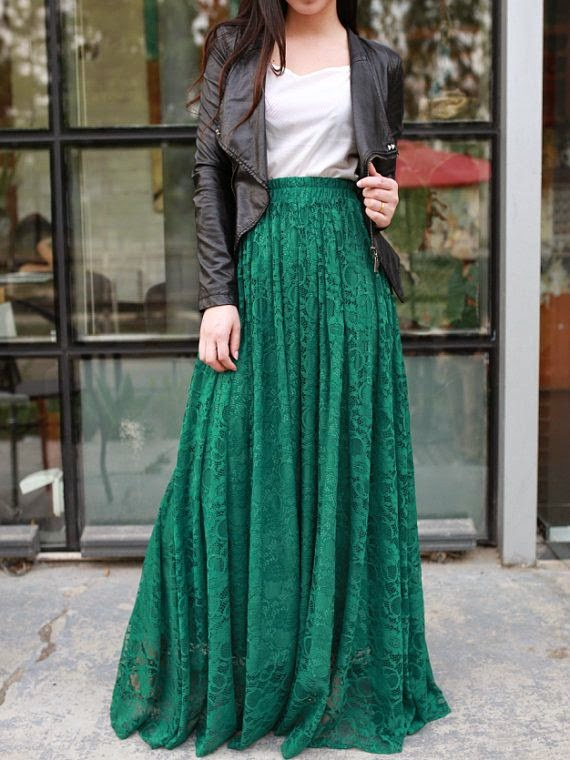 see more Jade green floor length plus size maxi skirt lace skirt elastic waist long skirt