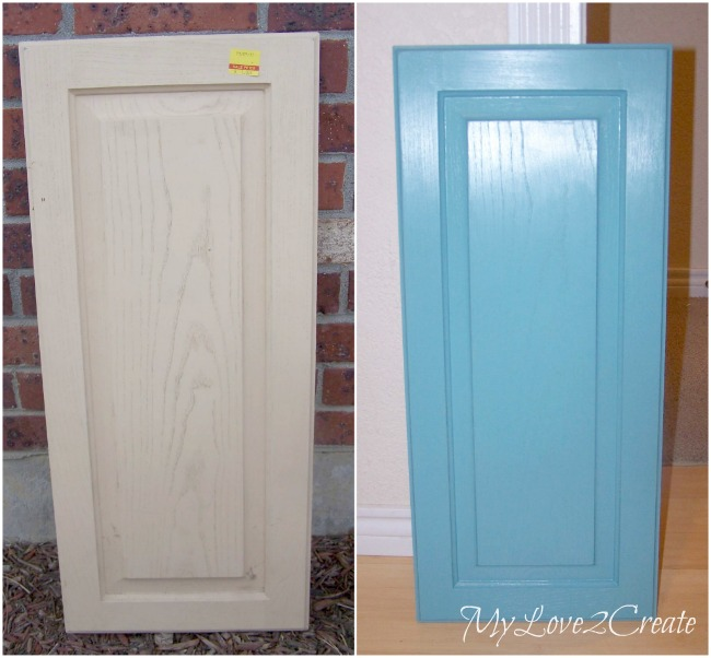 cupboard door before and painted