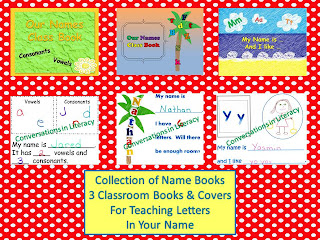 Name books for teaching and recognizing the letters in student's names.
