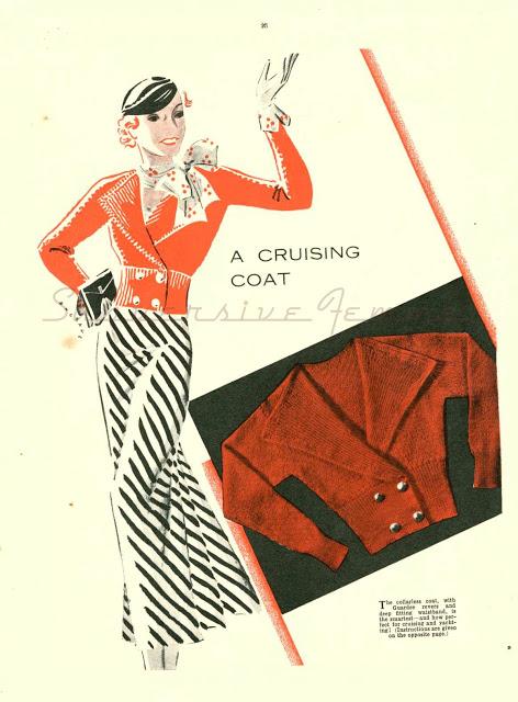 FREE A Cruising Coat Woman's Journal 2nd Book of Knitting (c 1930s) KNITTING PATTERN
