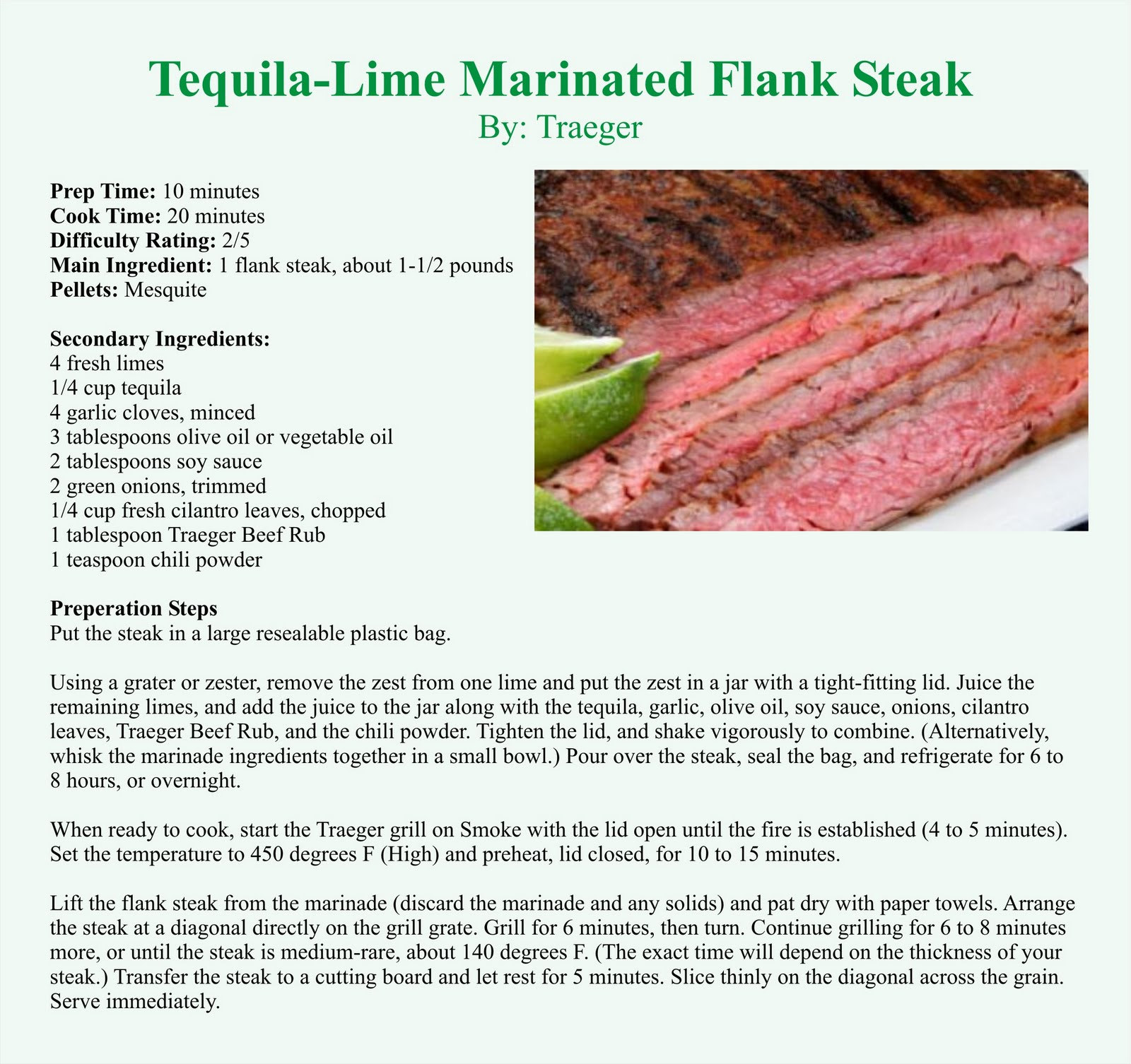 Traeger Grills: Tequila-Lime Marinated Flank Steak
