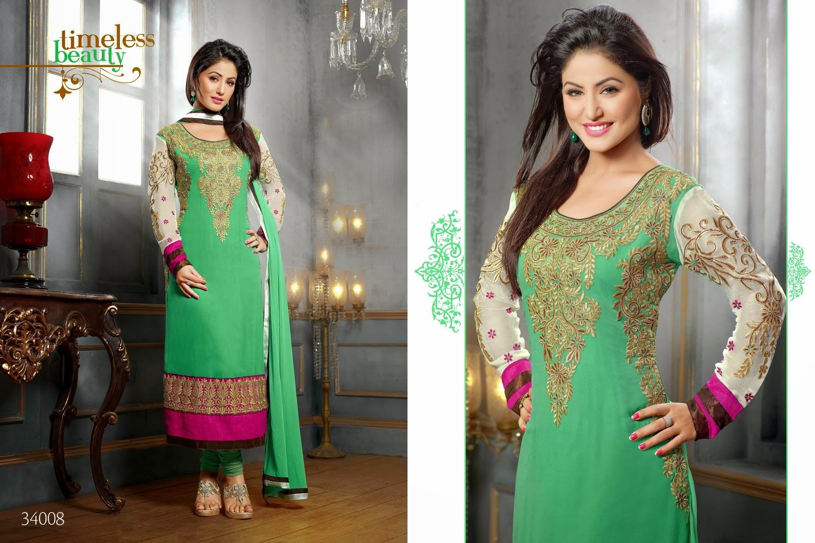 Ethnic women wear hina khan latest pakistani style long salwar kameez