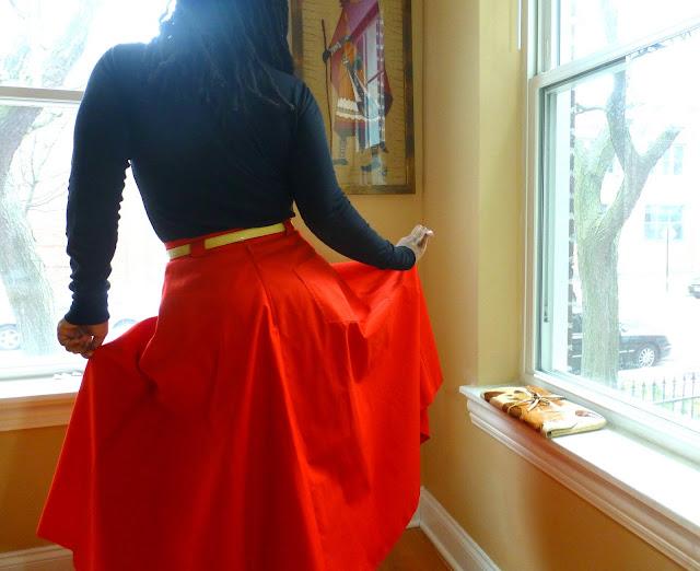 80s tuttamaglia gispa red front slit skirt