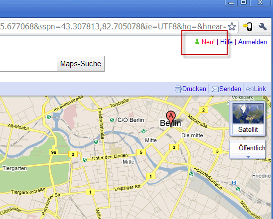 Button Neu Google Maps Labs