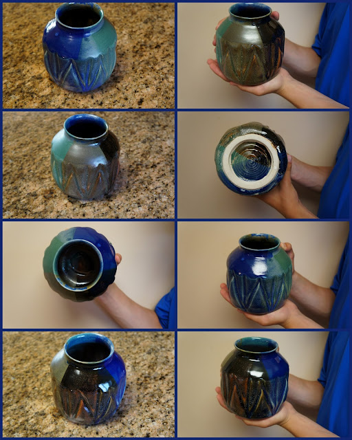 Colorful glazed pottery ceramic vase.