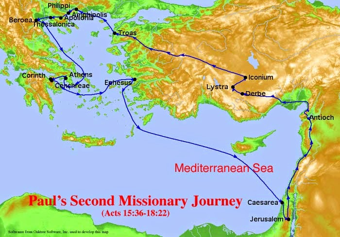 Paul's Second Missionary Journey Route Map