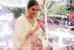 Aishwarya Rai after delivery At Public Appearance hot sexy, chubby, over weight, cute with baby in white dress