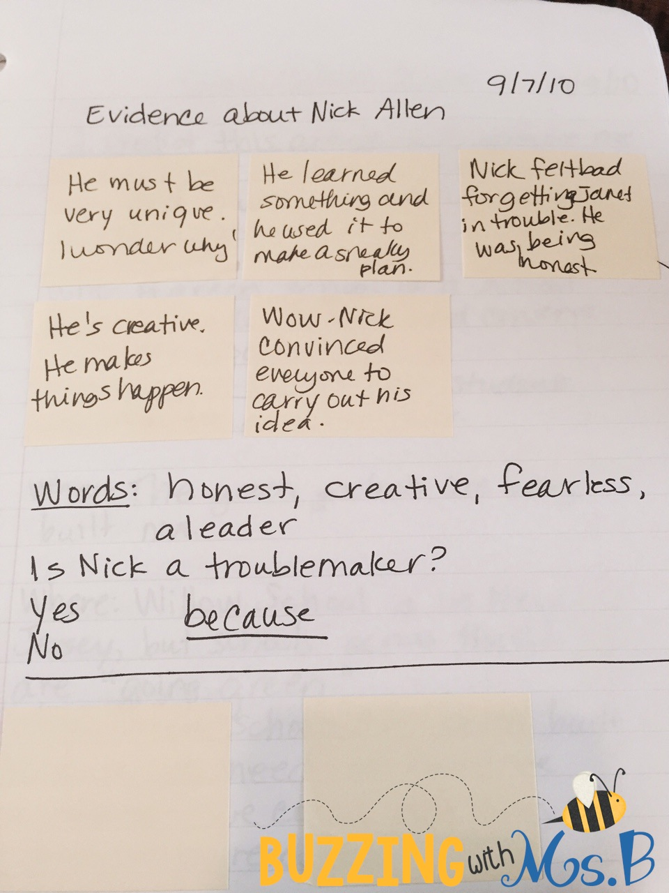 buzzing ms b  i wanted students to make some sort of decision about nick s character so i asked them a question controversy is nick allen a troublemaker