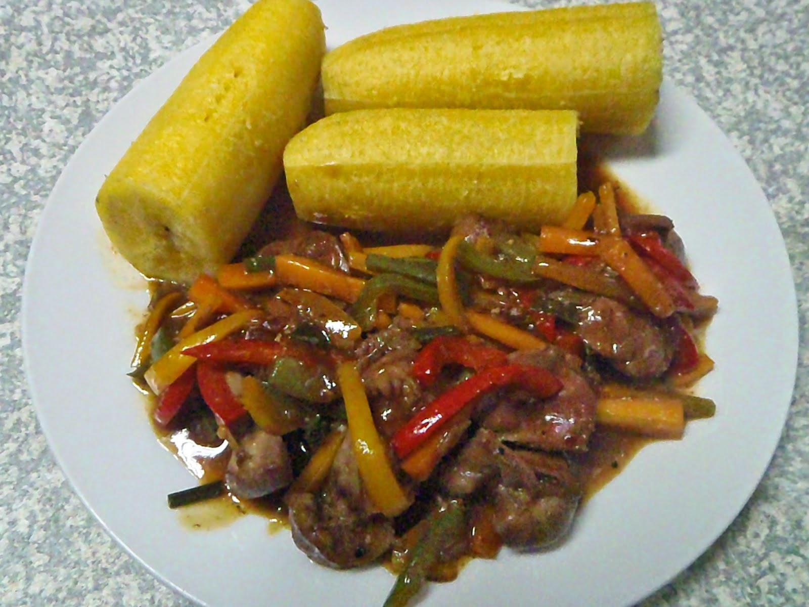 Plantain and Gizzard Stir-Fry