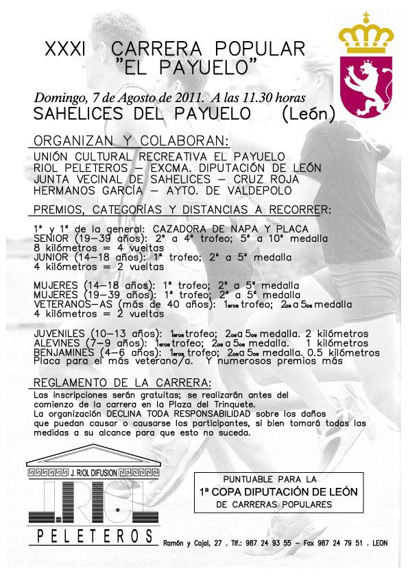 """XXXI Carrera Popular """"El Payuelo"""" - 8 Km - Sahelices del Payuelo (León) - Domingo 7 de Agosto a las 11:30 W_CARRERA_A4"""