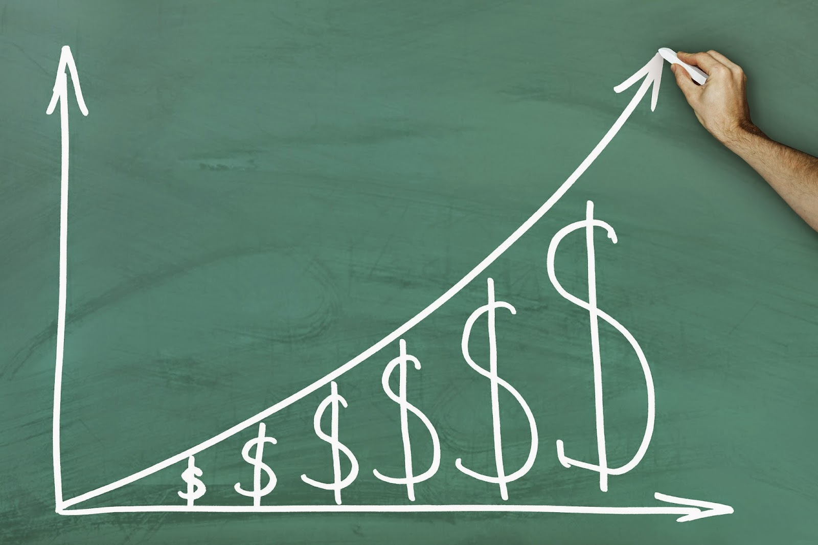 Chalkboard showing monetary growth chart