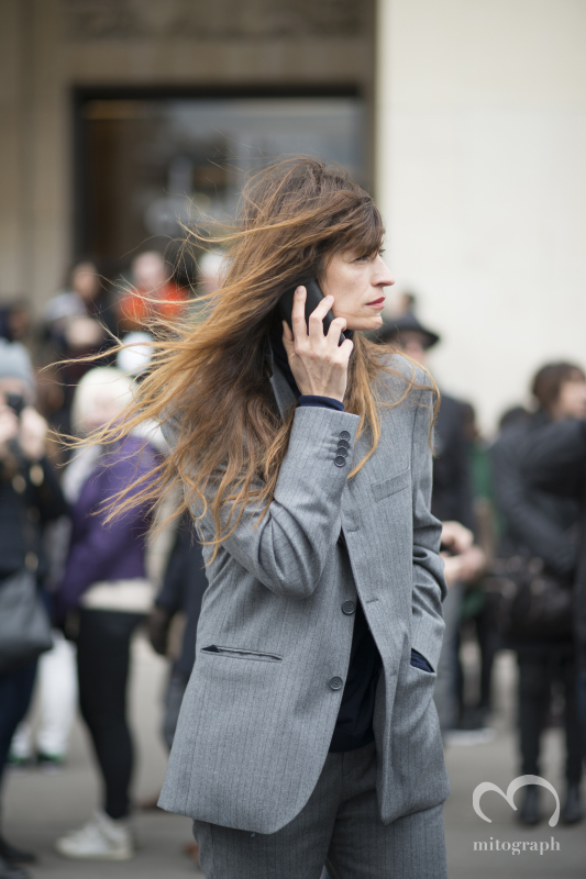 Model Caroline de Maigret at Sacai 2014 Fall Winter during Paris Fashion Week PFW