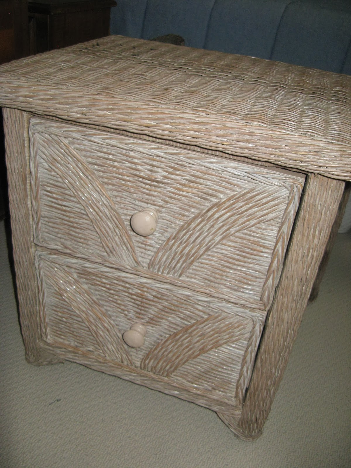 Wicker Nightstand - Before Photo