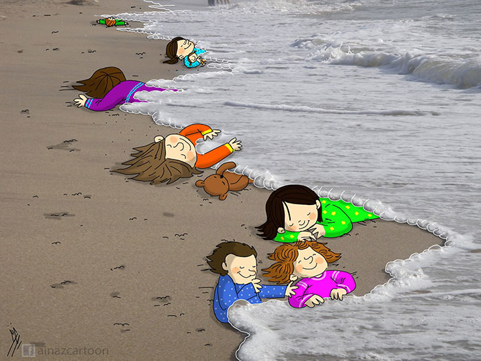 Artists Around The World Respond To Tragic Death Of 3-Year-Old Syrian Refugee - Just Sleeping