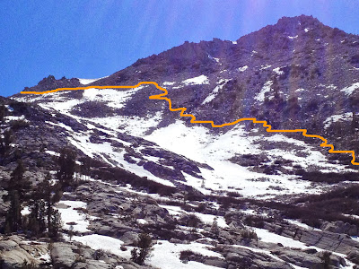 Heading up Arrow Peak via the pass