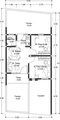 denah rumah minimalis type 36 dengan 2 kamar