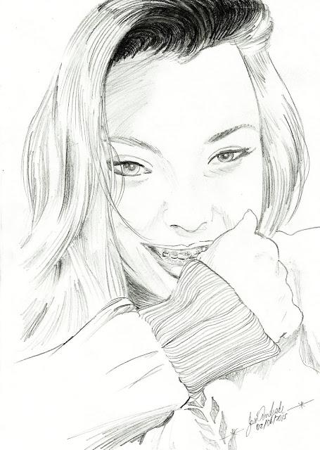 Desenhando uma loira, ilustração desenhado a lápis - D3s3nh4nd0