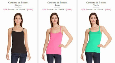 Camisetas de color negro, rosa o verde