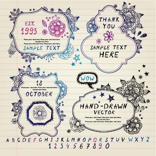 飾りフレームの招待状テンプレート vintage invitation card templates and decorative frames イラスト素材5