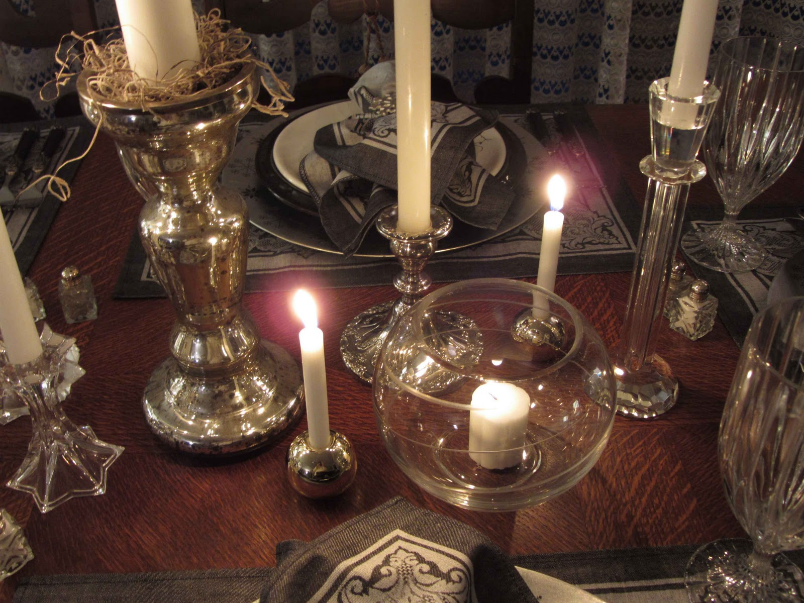 Mikasa Candle Centerpiece : Creative journeys drama by candlelight tablescape