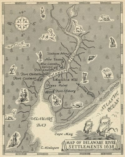 Delaware colonial map of settlements 1638.