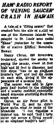 Ham Radio Report of Flying Saucer Crash in Hawaii – St Louis Post Dispatch 4-30-1950