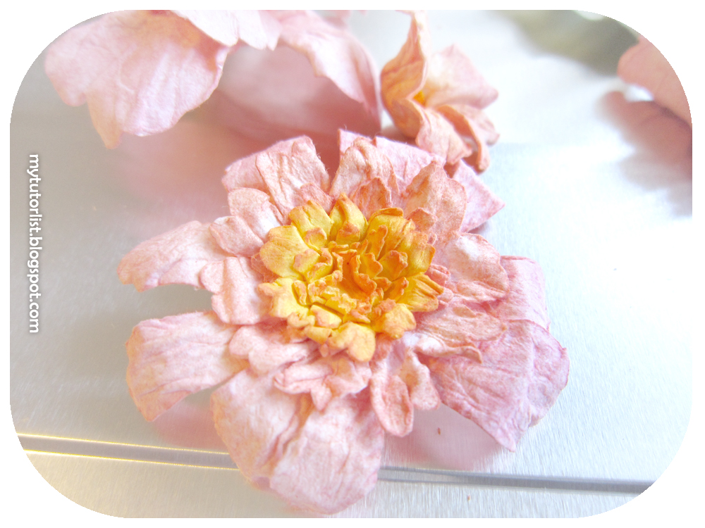 Diy water distressed paper flowers tutorial behind mytutorlist by varying the petal shapes colours and centers i have made a lots of different types of flowers mightylinksfo