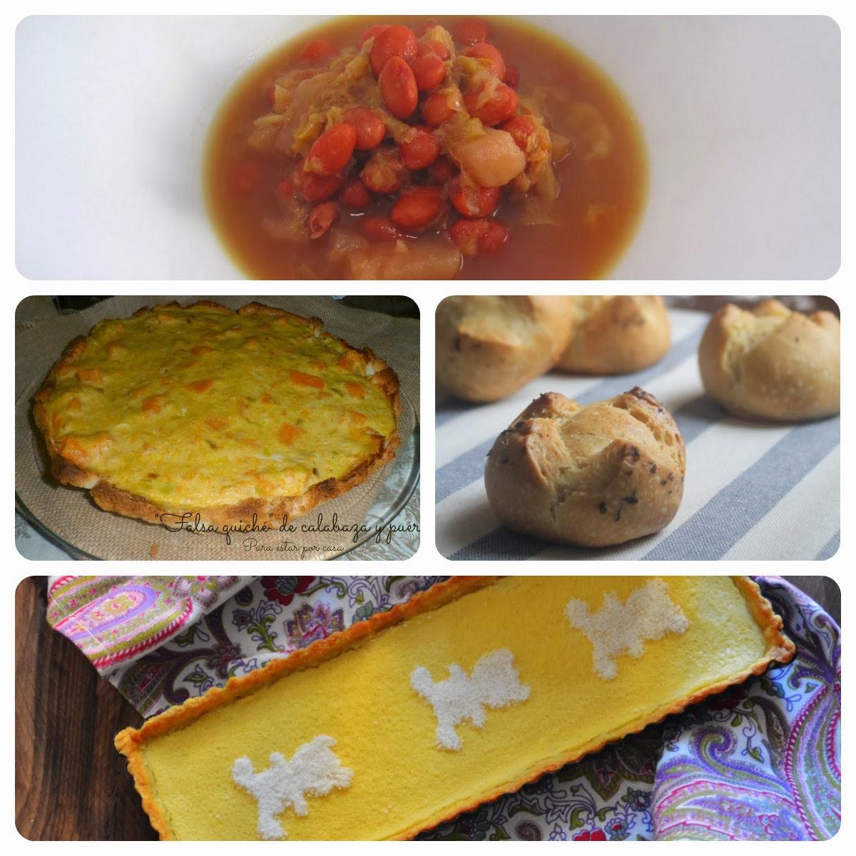 Platos del 01 Menú vegetariano con recetas de otros blogs.