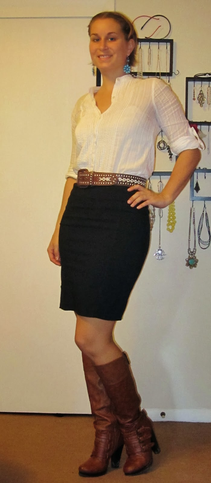 low budget fashionista pencil skirt chestnut boots