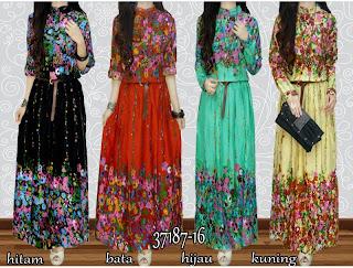 Maxi Saira - Maxi Dress Salur Corak Bunga