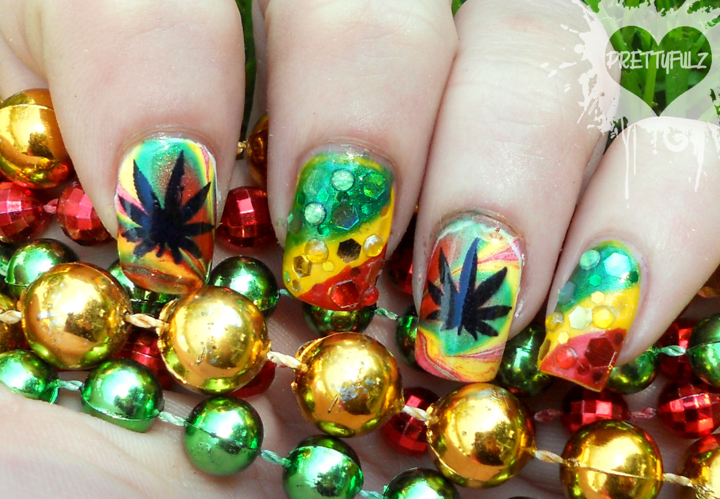 Rasta deco nail art design