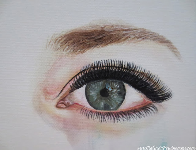 seeing unique beauty, beauty art, eye painting, eye art, multicoloured eyes, green eyes, green and  brown eyes, malinda prudhomme, darlene swinton, mismatched eyes, original artwork, custom artwork, commission art
