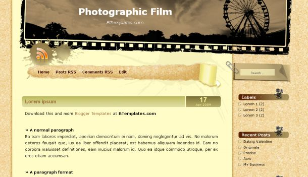 Free Blogger Love Movies Theme Template