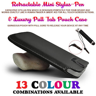 BLACK PULL TAB CASE POUCH & MINI RETRACTABLE STYLUS PEN FOR VARIOUS HANDSETS
