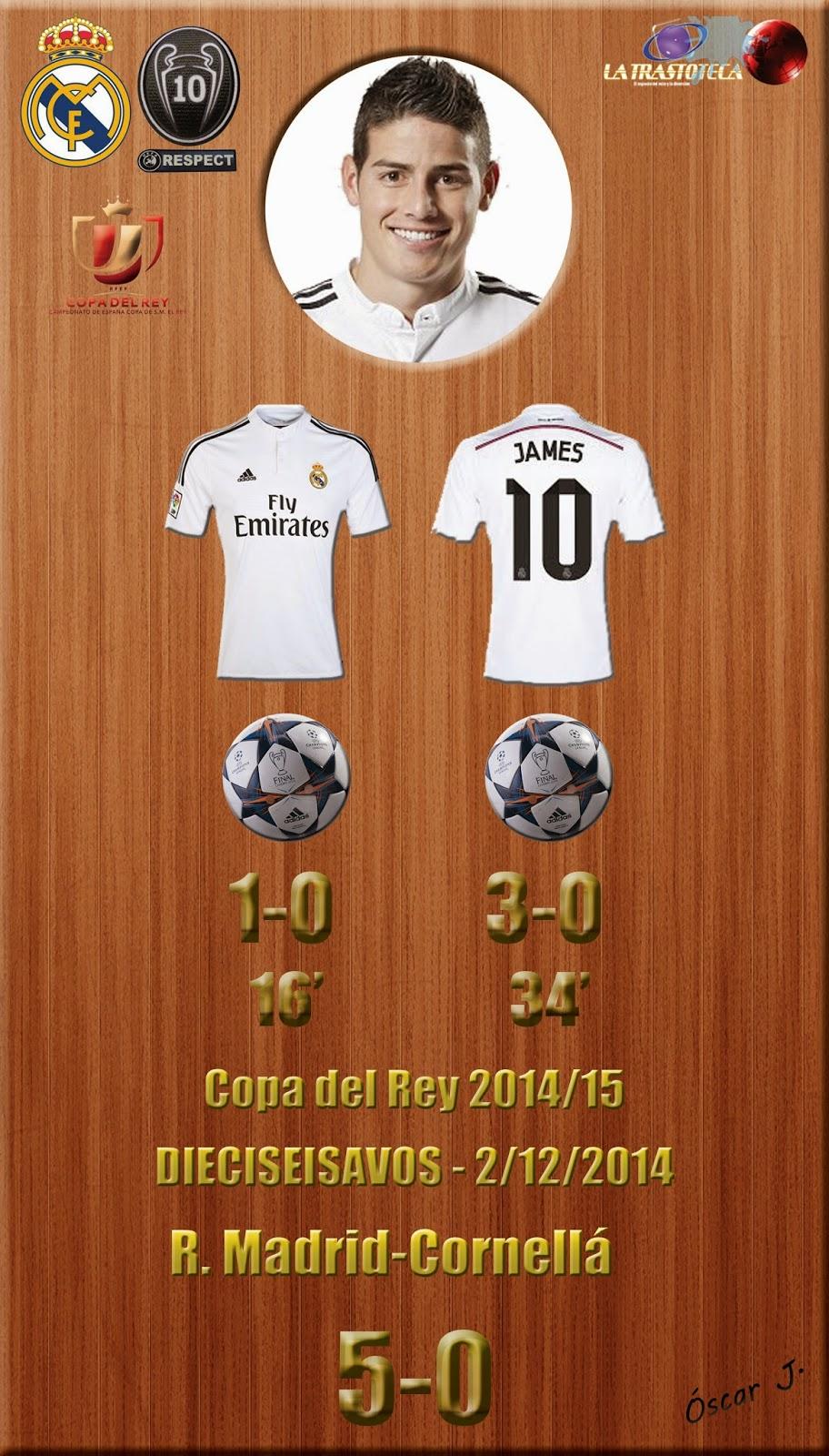 James Rodríguez - Doblete - Real Madrid 5-0 Cornellá - Copa del Rey 2014/15 - Dieciseisavos - (2/12/2014)