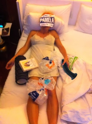 Pamela Anderson recovering after a marathon