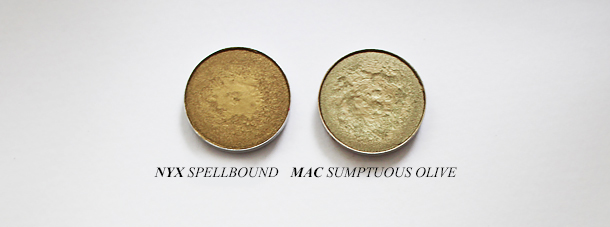 mac sumptuous olive eyeshadow dupe swatch comparison nyx spellbound