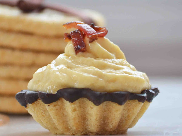Maple Dark Chocolate Cookie Cups Filled with Maple Mousse Topped with Candied Bacon: For the Secret Recipe Club