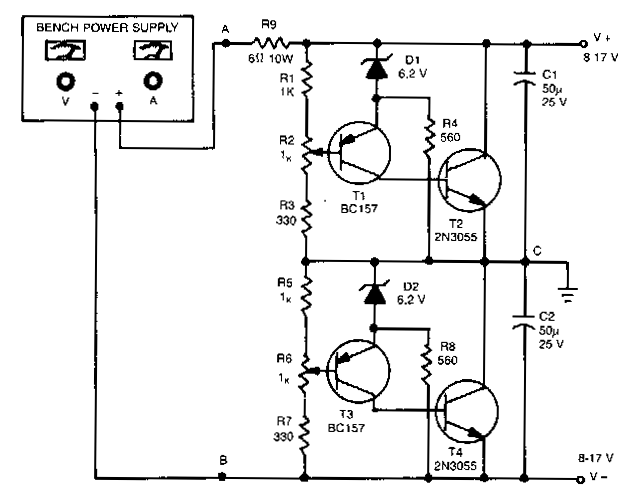 simple unipolar to dual supply converter circuit diagram
