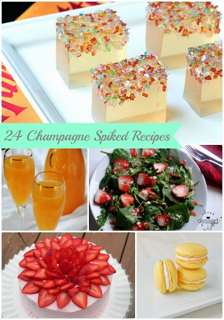 These 24 Champagne Spiked Recipes are perfect for planning your New Year's Eve menu or for using up that leftover champagne after.