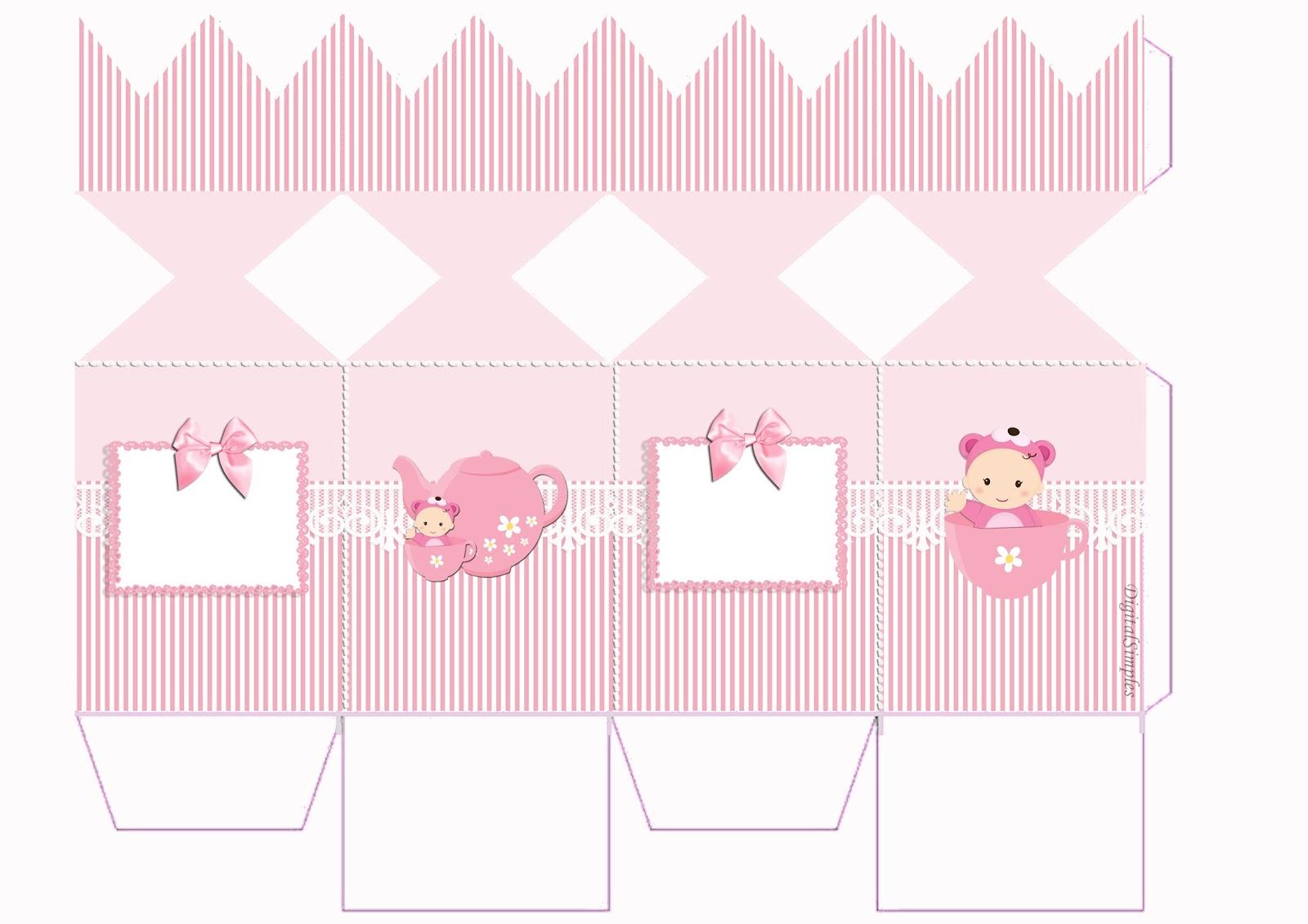 "Kit Personalizado ""Chá de Bebê"" Menina para Imprimir - Convites"