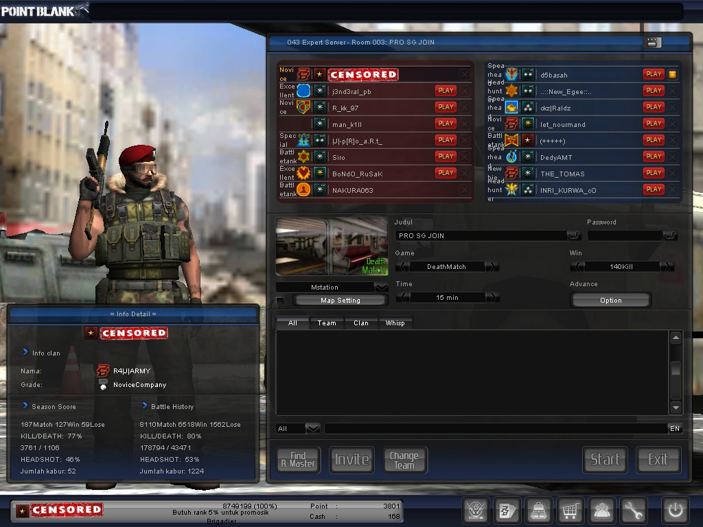 JUAL CHAR POINT BLANK MURAH + TERIMA GB CHAR + GB CLAN