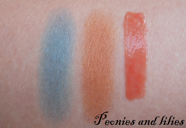 Bourjois vivid blue 02 eyeshadow swatch, Bourjois burnt orange 16 eyeshadow swatch, Bourjois effet 3D corail artistic lipgloss swatch, Bourjois summer 2012, Bourjois summer 2012 paris flowers, Peonies and lilies,
