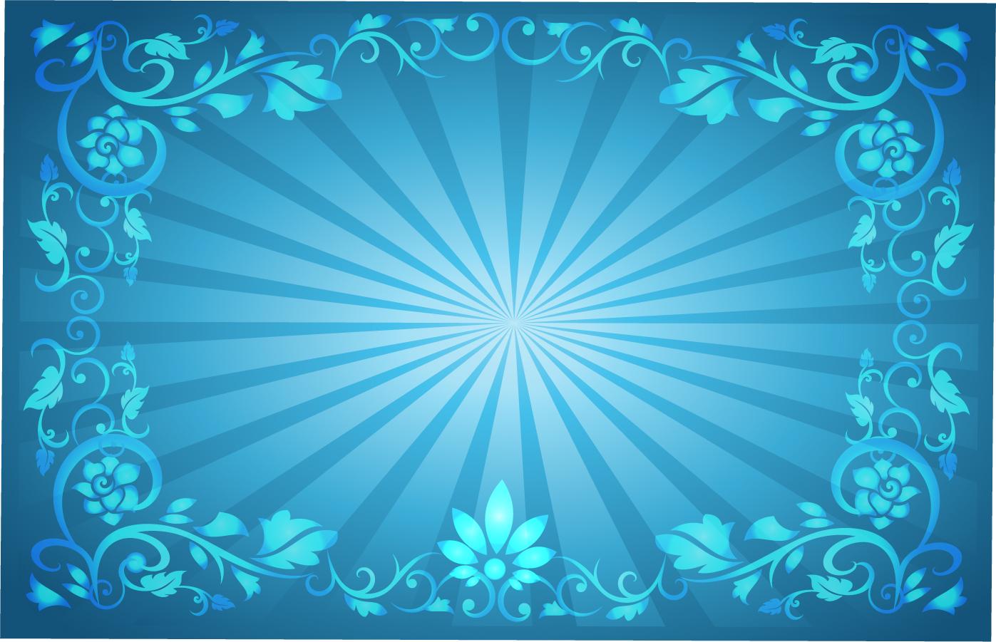 植物フレームの光が拡がる背景 Flower Frame Sunburst Background イラスト素材