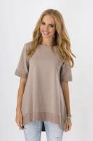 Bluza moderna, asimetrica, de culoare bej ( )