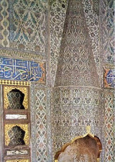 The tiled hearth of the crown prince's apartment in Topkapi Place, Istanbul, Turkey.