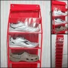 Jual rak sepatu gantung plastik bermotif murah bukan polos